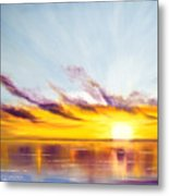 Sun In A Lake Metal Print