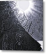 Sun Over Barbed Wire Metal Print