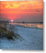 Sun Over Sea N Suds And Pier Large Metal Print