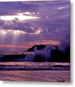 Sun Pokes Though Clouds By Stormy Sea Metal Print