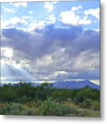 Sun Rays And Desert Landscape Metal Print
