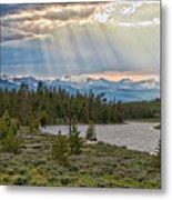 Sun Rays Filtering Through Clouds Metal Print