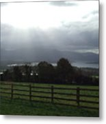Sun Rays Over Irish Landscape Metal Print