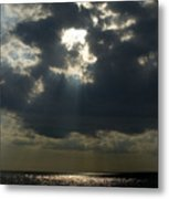 Sun Rays Pierce Through Clouds And Rest Metal Print