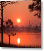 Sun Rise At Red Lake Grayton Beach State Park Florida Metal Print