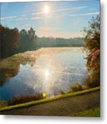 Sun Rising Over Lake Inspiration Metal Print