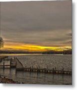 Sun Set At The Lake Metal Print