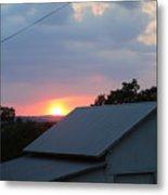 Sun Set On Barn  Metal Print