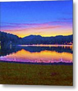 Sun Set On Lake Lure Metal Print