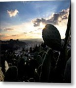 Sun Sets On The Alhambra Metal Print