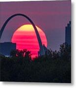 Sun Setting Behind The Arch Metal Print