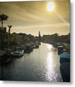 Sun Setting Over Canals Of Naples In Long Beach, Ca Metal Print