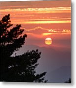 Sun Through The Clouds And Trees Sunset At The Mountains Metal Print