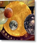 Sun With Planet Moons Metal Print