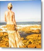 Sunbathing By The Sea Metal Print