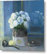 Sunday Morning And Roses - Blue Metal Print