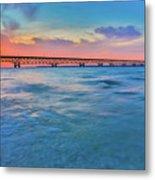 Sundown At Mackinac Bridge Metal Print
