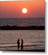 Sundown On Tel Aviv Beach Metal Print