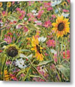 Sunflower And Cosmos Metal Print