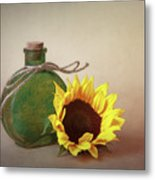 Sunflower And Green Glass Still Life Metal Print