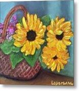 Sunflower Basket Metal Print