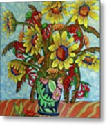 Sunflower Bouquet With Butterfly Metal Print