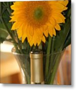 Sunflower In A Bottle Or Is It  Vase. Metal Print