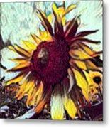 Sunflower In Deep Tones Metal Print