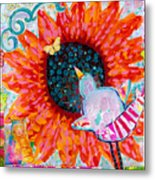 Sunflower In The Middle Metal Print