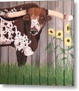 Sunflower Longhorn Metal Print