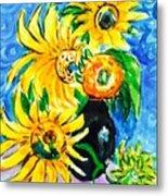 Sunflower On Black Vase Metal Print