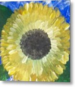 Sunflower On Blue  Metal Print