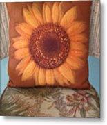 Sunflower Pillow Metal Print