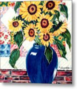 Sunflower Quilt Metal Print