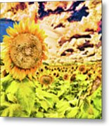 Sunflower Storm Metal Print