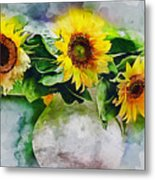 Sunflower Trio Metal Print