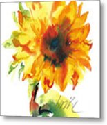 Sunflower With Blues Metal Print