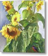 Sunflowers After The Rain Metal Print