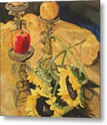 Sunflowers and Apples Metal Print