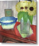 Sunflowers And Blue Bowls Metal Print