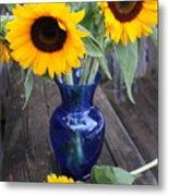 Sunflowers And Blue Vase - Still Life Metal Print