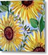 Sunflowers And Butterflies Metal Print