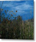 Sunflowers And Corn With Lines Metal Print