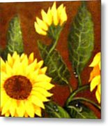 Sunflowers And Dewdrops Metal Print