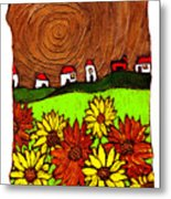 Sunflowers And Fields Metal Print