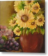 Sunflowers And Grapes Metal Print