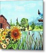 Sunflowers And Jaybird Metal Print