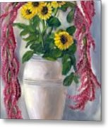 Sunflowers And Love Lies Bleeding Metal Print