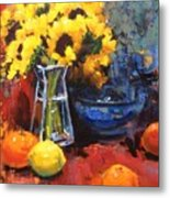 Sunflowers And Oranges Metal Print