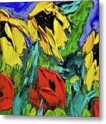 Sunflowers And Poppies - Little Treasures Series Metal Print
